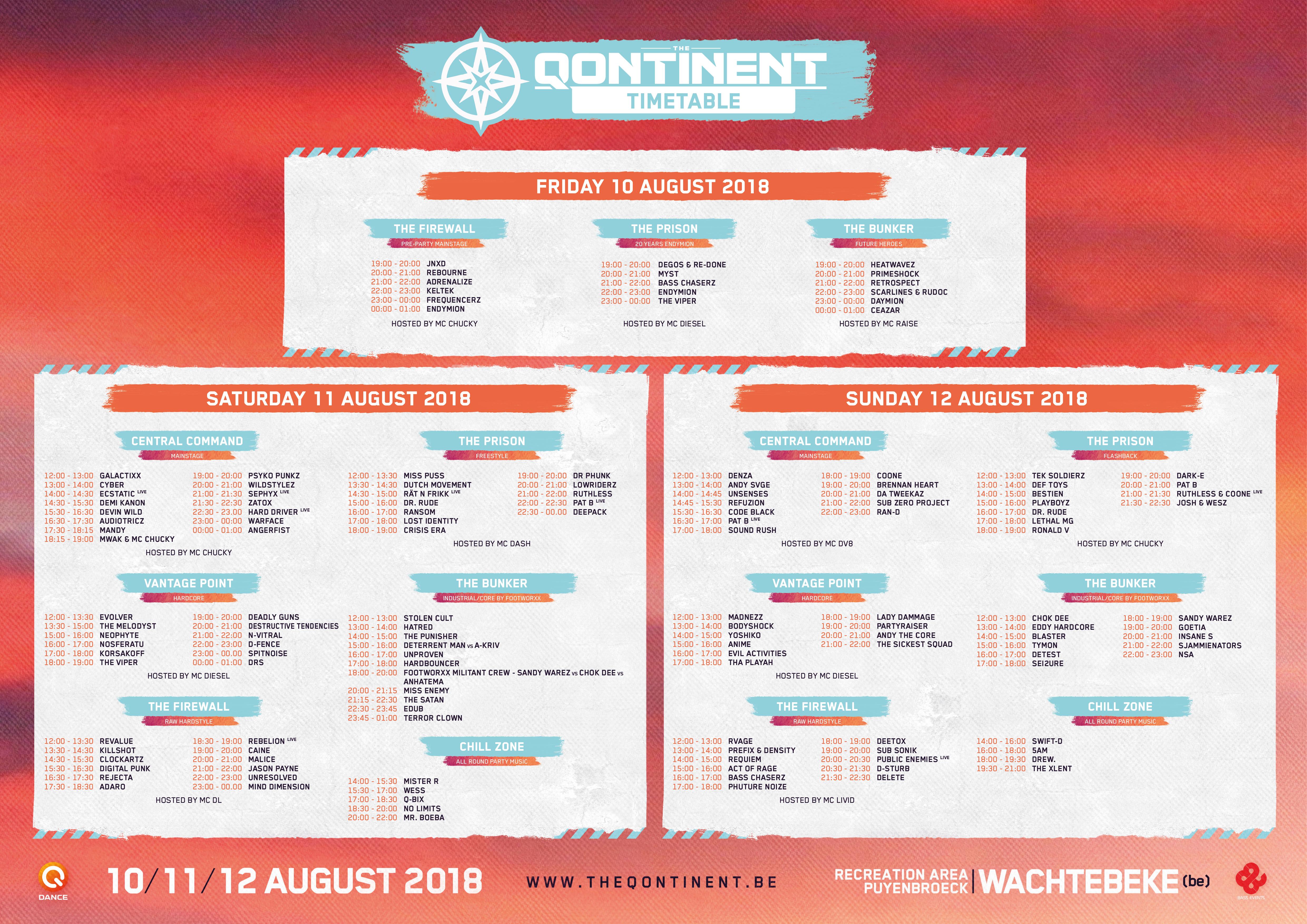 Q-dance   The Qontinent 2018   Timetable & Floorplan